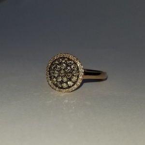 0.75 Carat Genuine Chocolate & White Diamond Ring
